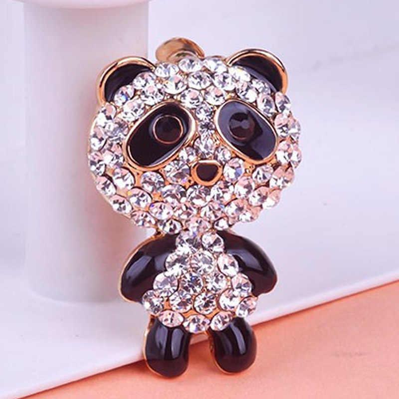 Lucu Enamel Panda Hewan Bros Shiny Noble Austria Kristal Wanita Broches Terbaik Bridal Aksesoris Pin Syal Aksesori