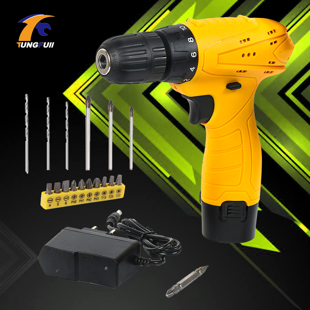 tungfull Electric Drill cordless drills woodworking screwdrivers mini polishing machine cordless screwdriver set power tool 45pcs drills 4 8v cordless rechargeable reversible electric screwdriver tool set electric screwdriver with plastic case