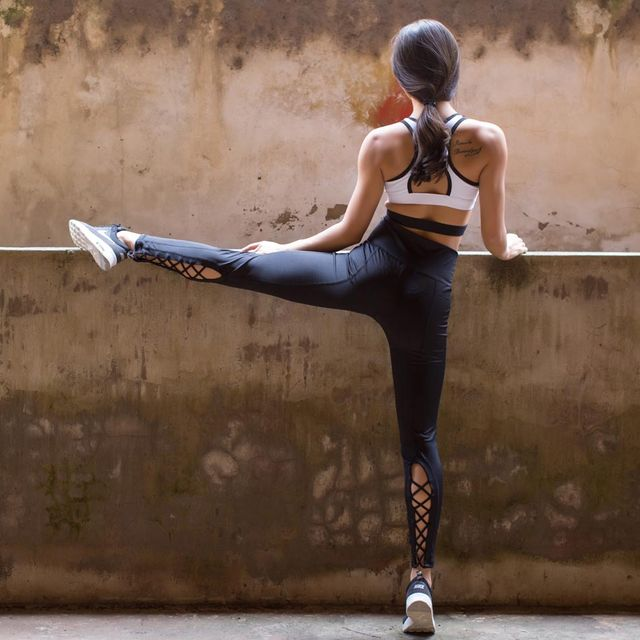 Yoga pants with side cutouts-8222