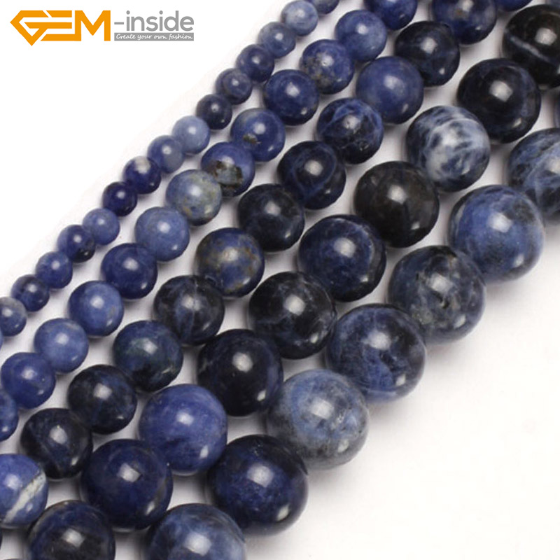 Gem-inside 3-14mm Natural Stone Beads Round Loose Sodalite Beads For Jewelry Making Beads 15inch DIY Beads Jewellery