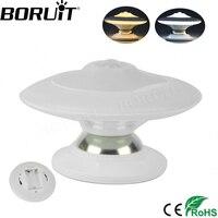 Boruit 360 градусов вращающийся НЛО Форма шаг ночник движения Сенсор свет стены прихожей шкаф Спальня лампа AAA батарея