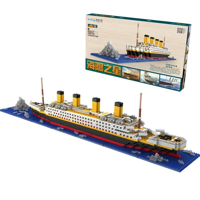 1860 Pcs Nenhum Jogo Rs Titanic Navio De Cruzeiro De Barco Modelo Diy Blocos De Construção De Diamante C
