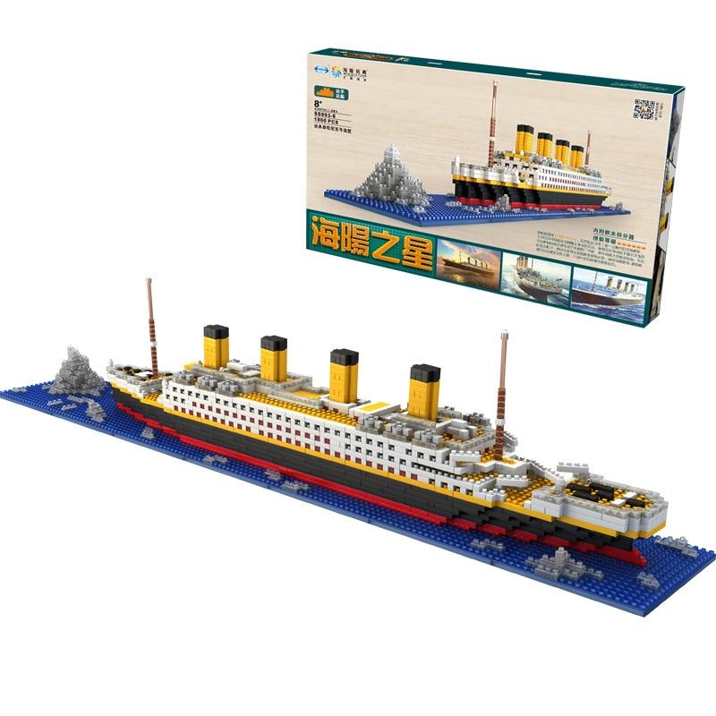 1860 peças ninhum jogo rs titanic navio de barco modelo diy blocos de construção de diamante c