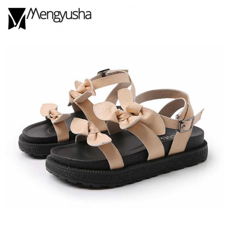 three bowtie band sandals women 34-43 plus size platform sandals high quality leather summer shoes bow sandalias mujer c248