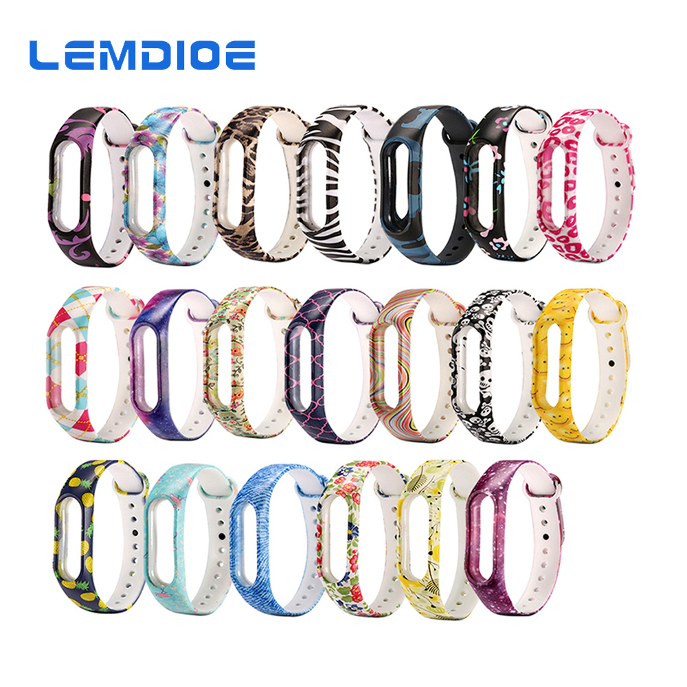 LEMDIOE Smart Fitness Bracelet For Xiaomi Mi Band 2 Strap Silicone Colorful Sport Smart Band Cute For Mi Band 2 Wristband Strap