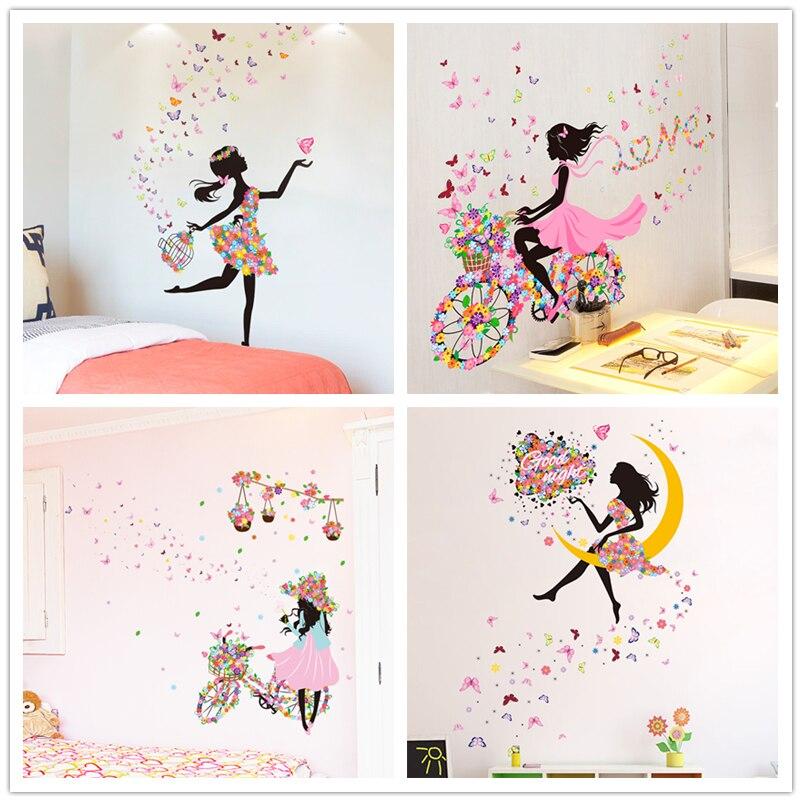 [SHIJUEHEZI] Fairy Girl Wall Stickers DIY Butterflies Mural Decals for Kids Room Baby Bedroom Dormitory Decoration Children Gift serok ikan