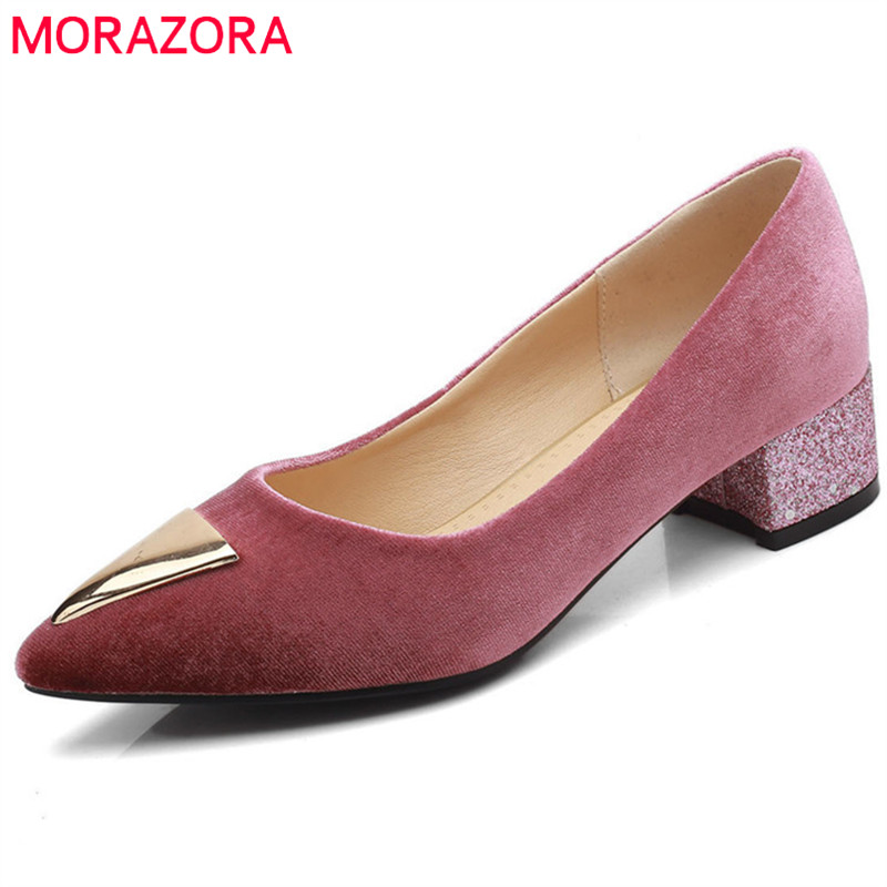 MORAZORA 2018 new style women pumps spring summer fashion shoes pointed toe flock shallow shoes big size 33-44 square heel shoes xiaying smile woman sandals shoes women pumps spring summer pointed toe sexy fashion casual thin heel cover heel flock shoes