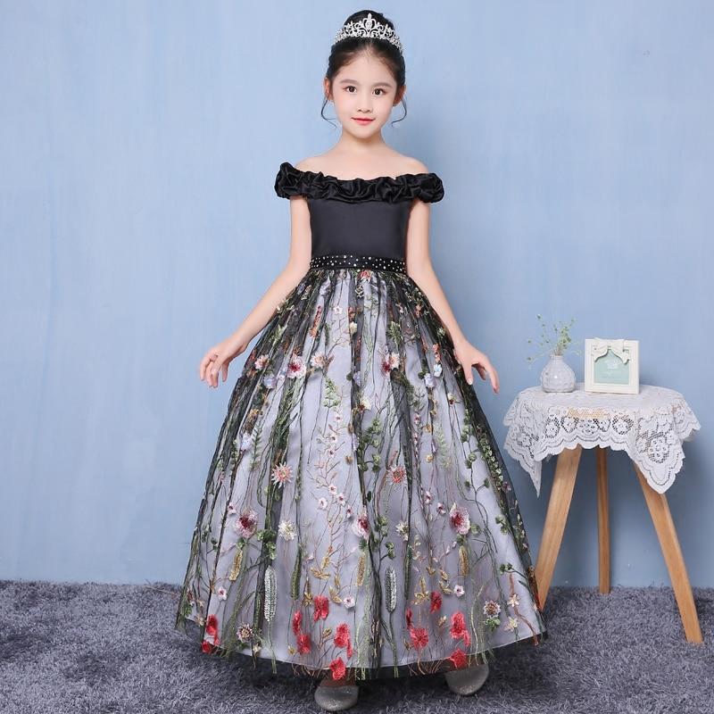 Shoulderless Princess Dress Appliques Kids Pagent For Birthday Wedding  Flower Girls Dresses Ball Gown Tutu Girl D109 179f7c673161