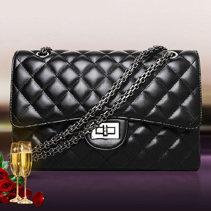2017 black women shoulder bags female party crossbody chain bag plaid handbag quilted sac a main femme women leather handbags fashion genuine leather handbag alligator party bag luxury women leather handbag female shoulder bags sac a main femme de marque
