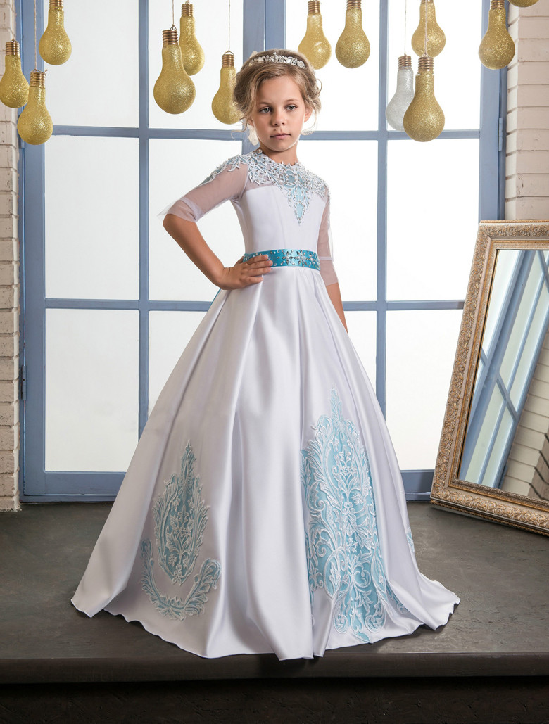 2017 Flower Girl Dresses Beading Crystal Bow Belt O-neck Ball Gown Half Sleeves Formal First Communion Gowns Custom Made green crew neck roll half sleeves mini dress