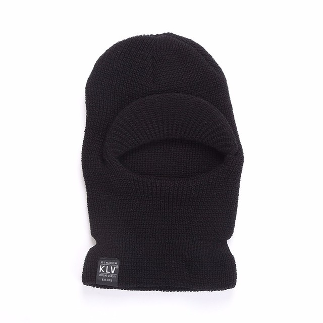 KLV Acrylic Warm Black Fleece Neck Cold Winter Ski Full Face Mask Cover Hat  Cap Full Face and Neck Coverage Design abd57259df0