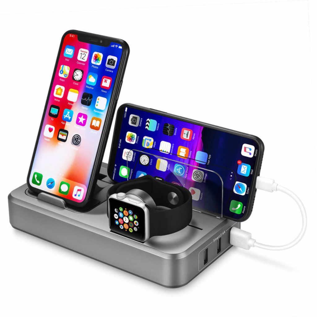 Mnycxen 10W Qi cargador inalámbrico para iPhone X/XS 8 Plus almohadilla de carga rápida soporte para Apple iwatch reloj para Samsung S9 s10 + z70