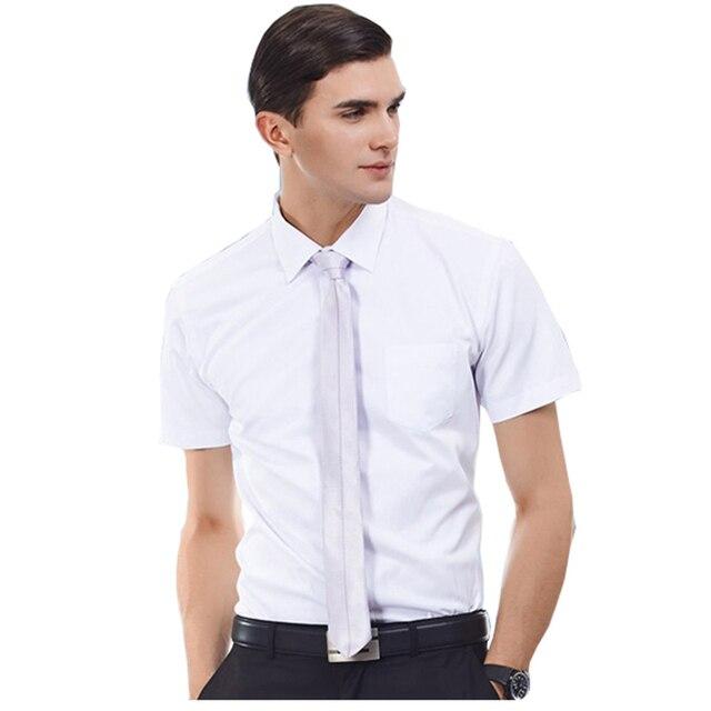 13f37f534139 Super Size M-6XL Summer Men Striped Light Blue White Formal Business Shirts  Short Sleeves Groom Bestman Wedding Dress Shirts