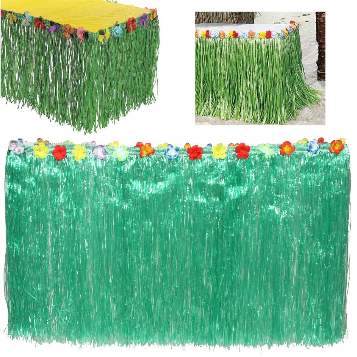 Artificial Green Grass Table Skirt Outdoor Patio Garden Hawaiian Beach  Party Camping Events Decoration Party Favor