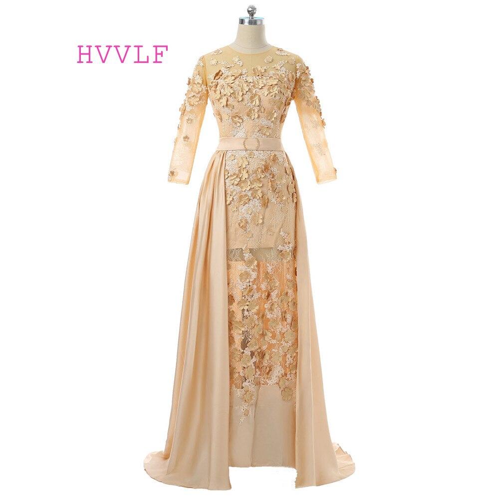 Champagne 2018 Muslim Evening Dresses Mermai 3/4 Sleeves Flowers Hijab  Dubai Abaya Saudi Arabia Long Evening Gown Prom Dress