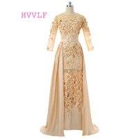 Champagne 2017 Muslim Evening Dresses Mermai 3 4 Sleeves Flowers Hijab Dubai Abaya Saudi Arabia Long