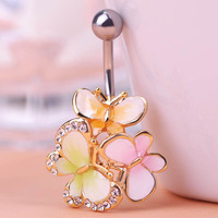 Three Butterfly Piercing Jewelry Collar Colorful Enamel Women Sexy Body Accessories Belly Percing Fashion Summer Gothic