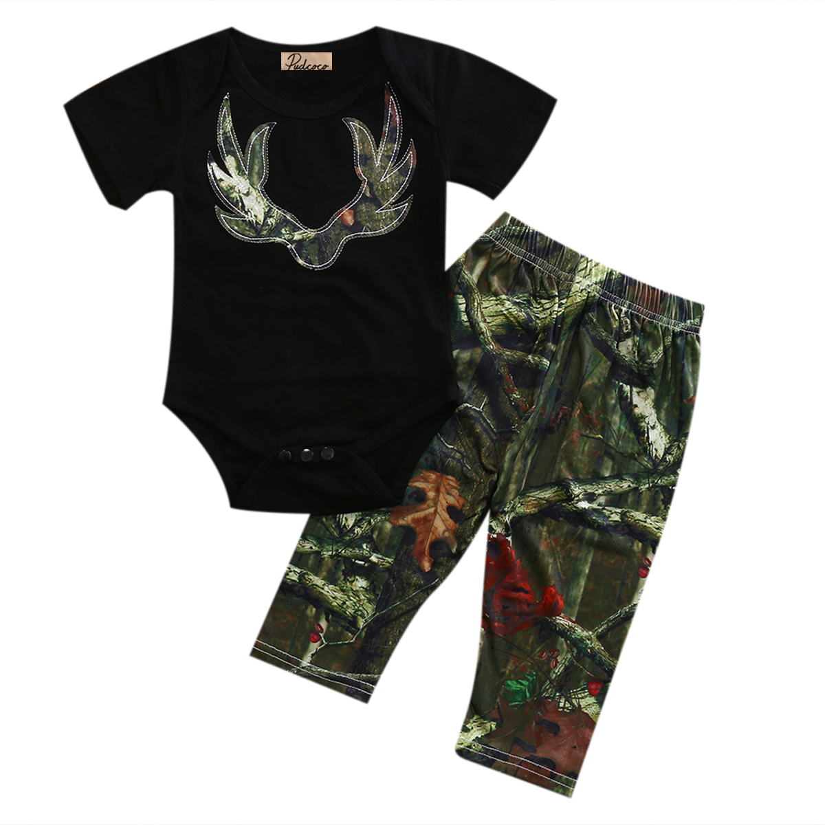 0-3Y Cotton Newborn Baby Cute Boys Girls Short Sleeve Tops O-Neck Romper +Pants Outfits Clothes Set 0-3T