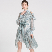 Runway Dress Women Striped Spliced Stand Neck Long Sleeves Sashes Ruffles Novel Design Party Club Dress New Fashion Style 2018 stylish scoop neck striped mesh spliced midi dress for women