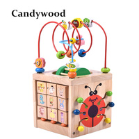 Montessori Math Toy Wooden Toys for Children Multi Function Abacus Clock Beads Toy Educational Teaching Aids for Kids Baby