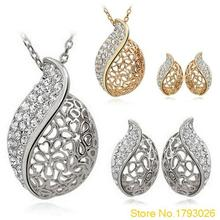 Women Lover Hollow Leaf Gold-colorRhinestone Necklace Earrings Designed Jewelry Set 4TSC