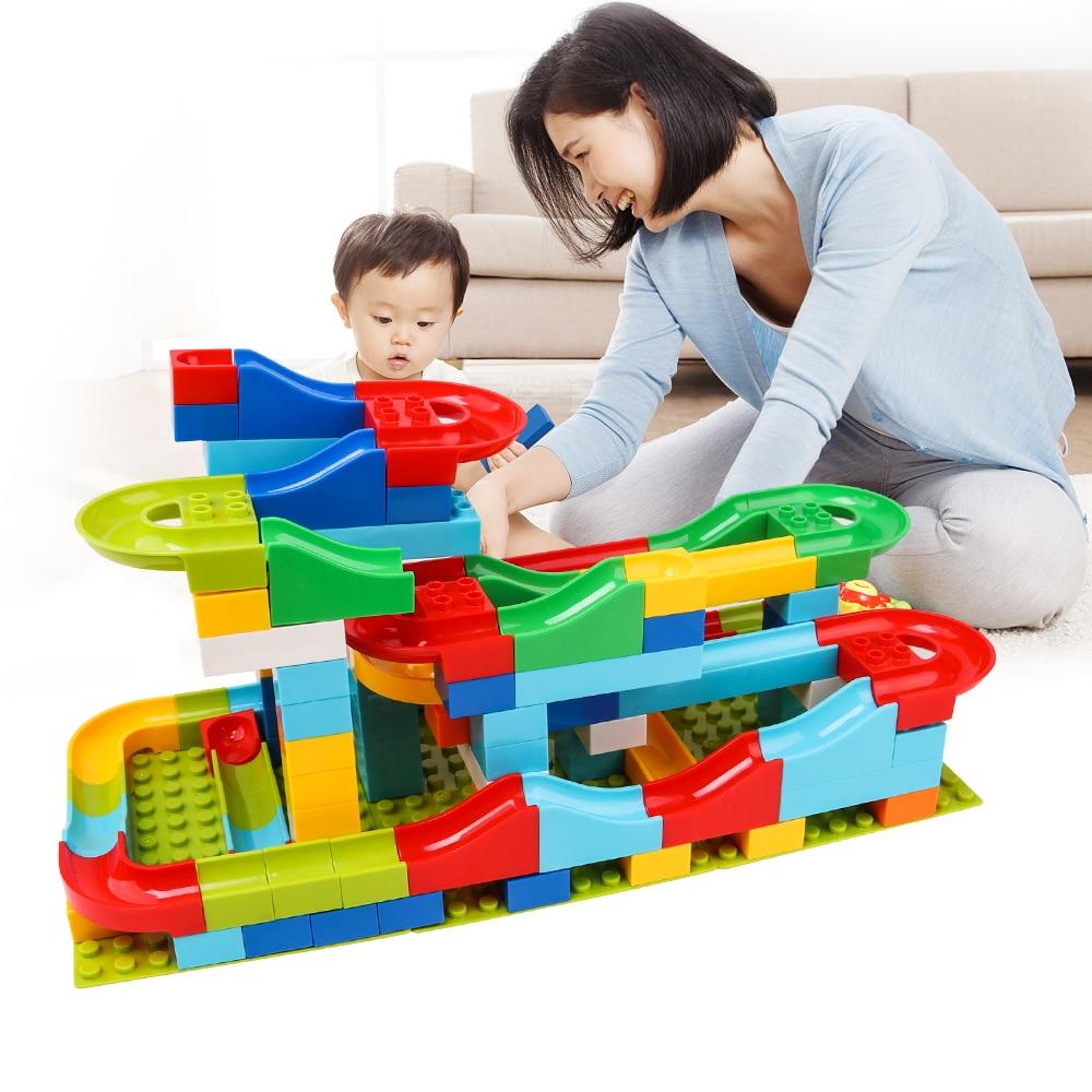 125Pcs Construction Marble Race Run Maze Balls Track Building Blocks Big Size Educational Bricks Compatible with Legoed Duploed