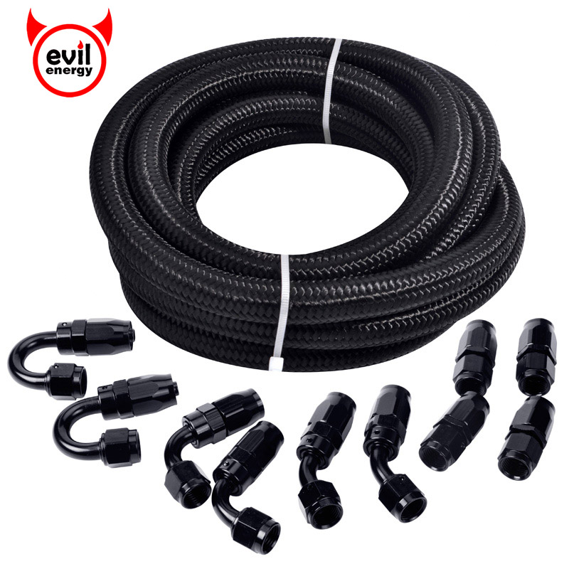 evil energy AN6 Swivel Fitting Fuel Pipe Oil Cooler Oil Pipe Fitting 0/90/180/45 Degree Adapter Fitting Black Braided Hose 5Mevil energy AN6 Swivel Fitting Fuel Pipe Oil Cooler Oil Pipe Fitting 0/90/180/45 Degree Adapter Fitting Black Braided Hose 5M