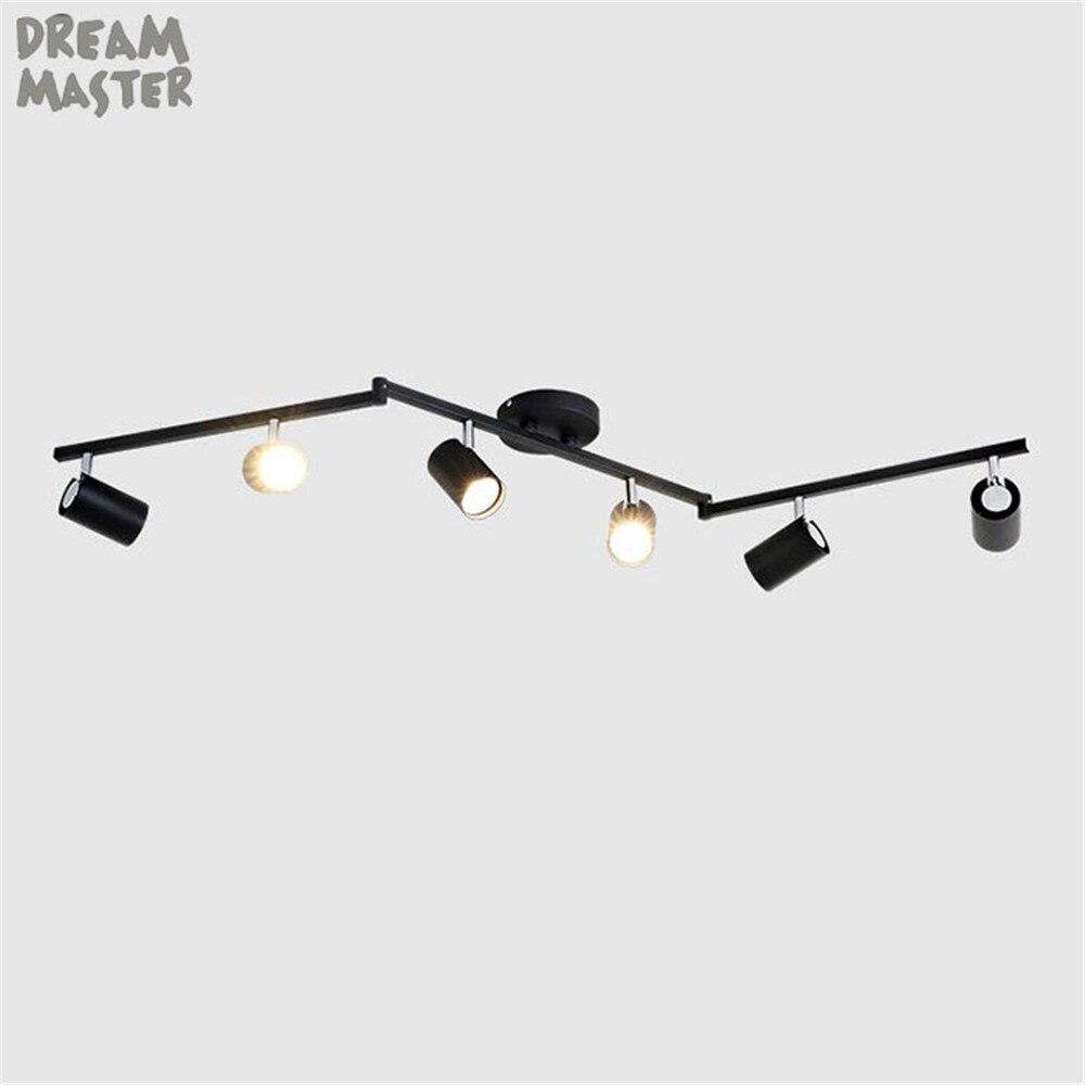 Us 190 0 6 Light Adjule Led Track Lighting Kit Flexible Foldable Arms Gu10 Bulbs Included Nickel Black White Rail Lamp In