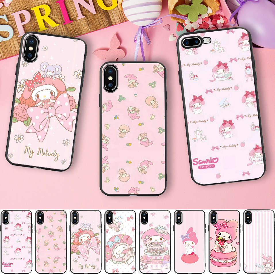 best authentic d58c3 4ae08 US $2.79 30% OFF|Minason Cartoon Lovely My Melody Black Soft Silicone Phone  Case for iPhone X 5 S 5S XR XS Max 6 6S 7 8 Plus Cover Capinhas-in ...
