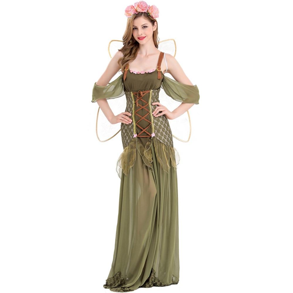 Adult Green Elf Cosplay Dress Forest Fairy Costume Women Halloween Fancy Dress Outfit