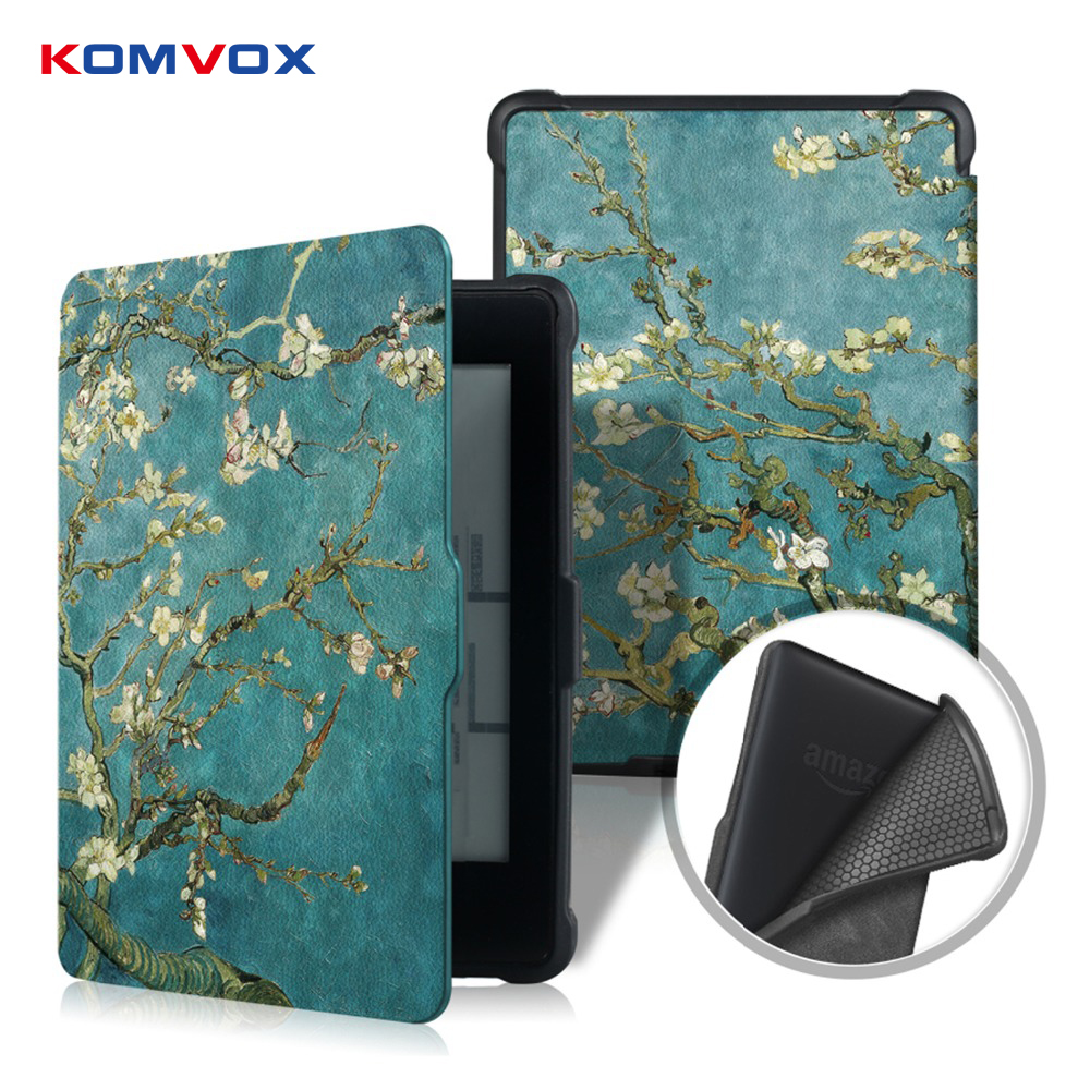 Leather Tablet Smart Cover Case for Amazon Kindle Paperwhite 1/2/3 Painting 6 inch Flip Case with Auto Wake Up/Sleep Function tablets case protective black magnetic auto sleep leather cover case for amazon kindle paperwhite 1 2