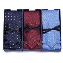3inch Wide Tie Men Wedding Paisley Jacquard Arrow Tie, Handkerchief,  Cufflinks Gift Box Packaging Office group tie