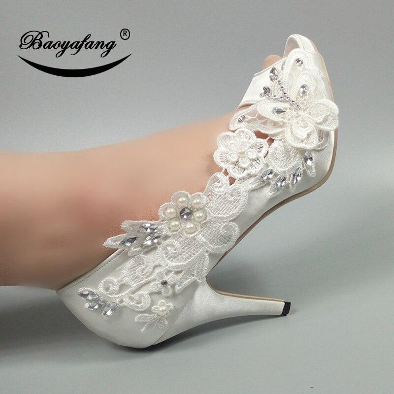 Cristal De 10 10cm Alto Cm Encaje Tacón Zapatos 5cm Nueva 8cm Cm Flor Boda Toe Baoyafang Heel Peep Cm Blanco 5 Heel Heel Fiesta Mujer Señoras 8 qtzwxTp