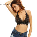 COLROVIE Top Black Lace Strap Lace Camisole Top Black Crop Top Quality Black Sexy Triangle Cup Tie Back Lingerie