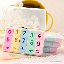 1 комплект/партия, ластик с цифрами, Подарочная пластиковая коробка для детских школьных принадлежностей, креативные канцелярские принадлежности, 1 комплект = 15 шт. ластики, папилария