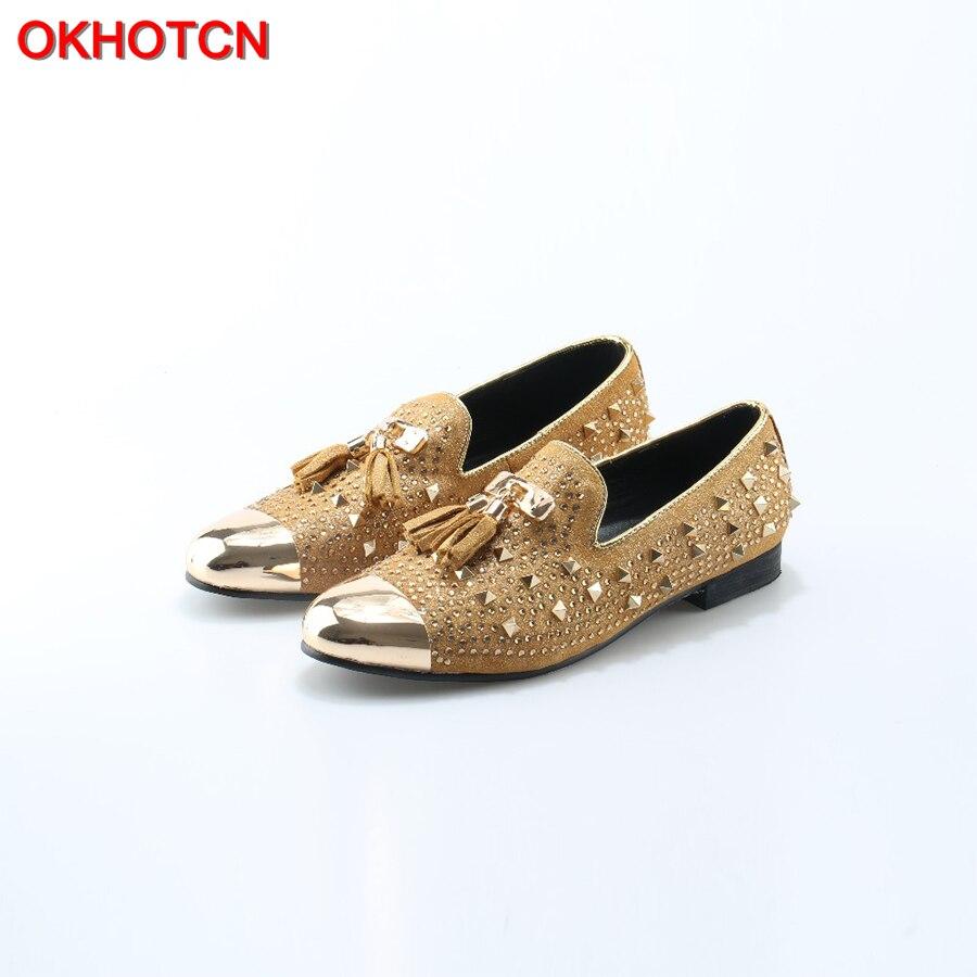 OKHOTCN/мужские золотистые туфли лодочки; большие размеры; желтые замшевые лоферы; Мокасины без шнуровки; мужские туфли лодочки для курения; св...