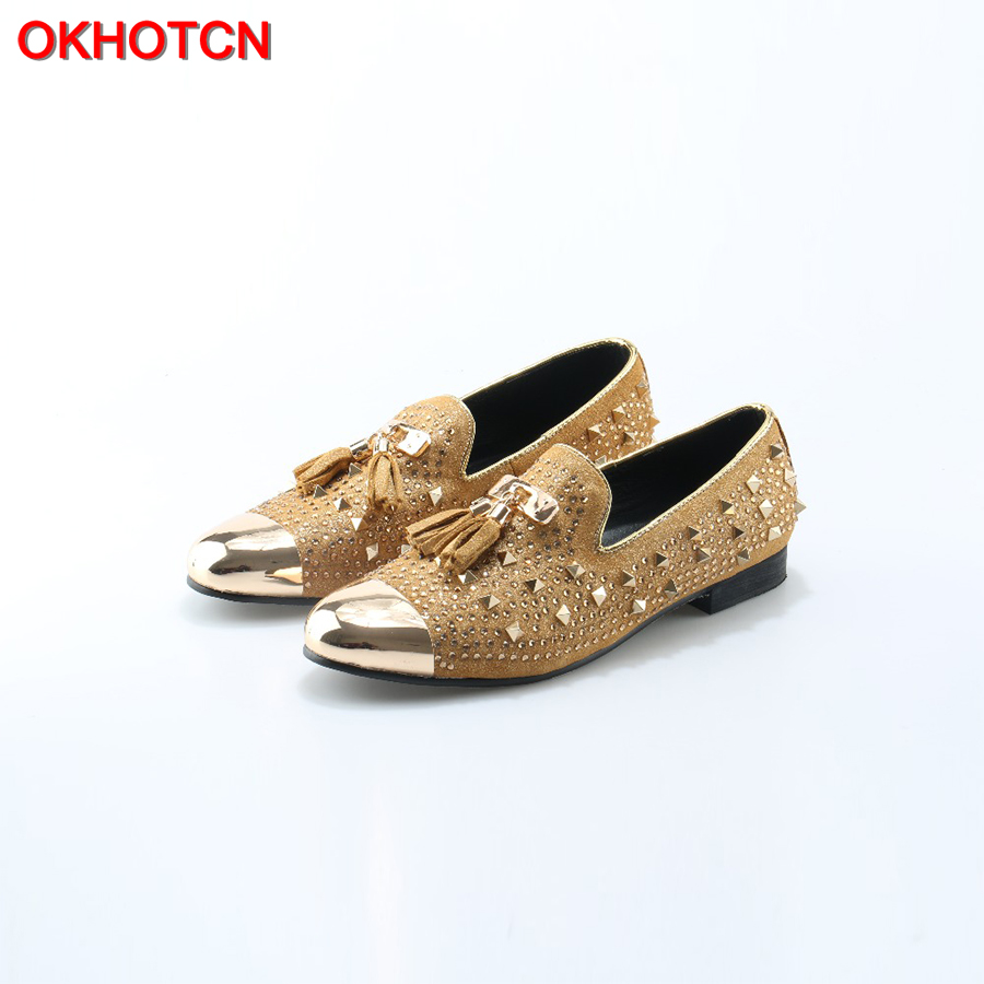 OKHOTCN Men gold spike plus size yellow suede leather penny loafers moccasins slip ons boat shoes smoking wedding men shoe