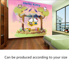 Custom papel DE parede infantil,cartoon purple KITTY cat for children room,the boys and girls bedroom wall waterproof wallpaper(China)