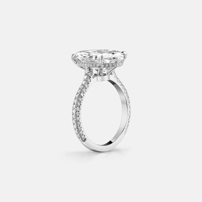 Anillos QYI para mujer 5 ct 925 anillos de boda de plata de ley corte ovalado Zirconia cúbica accesorios regalo de joyería-in Anillos from Joyería y accesorios    3