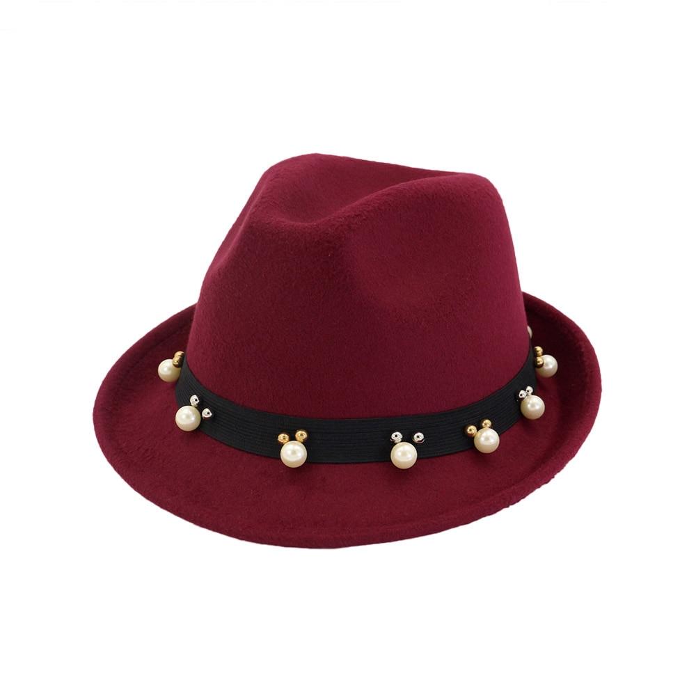 7a3148497f6 ... FS Black Red Ladies Winter Fedora Men Hats Wide Brim Felt Top Jazz Hat  Classic British ...