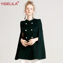 YIGELILA Latest Women Vintage O-neck Batwing Sleeve Double Breasted 100% Two-side Wool Cape Coat Poncho Cloak 9612(China)