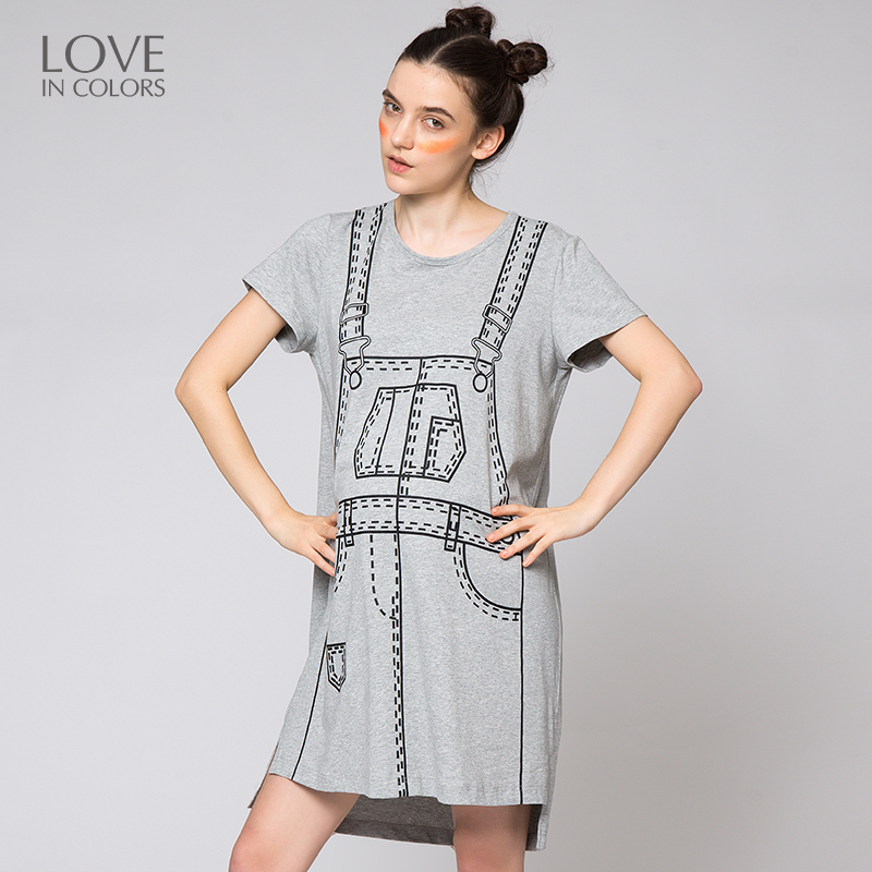 Loveincolors Maternity Women Particularly Braces Printing Dress Cute Soft Pregnant Clothes