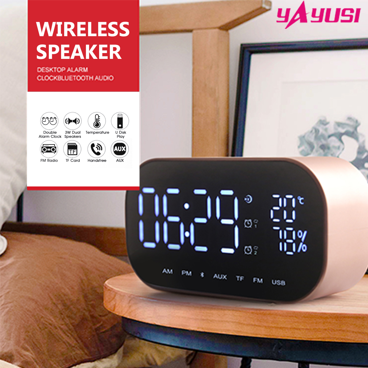 купить Outdoor LED Wireless Bluetooth Speaker Dual Units FM Radio Alarm Clock USB Micro SD TF AUX Portable Loudspeaker Sound System