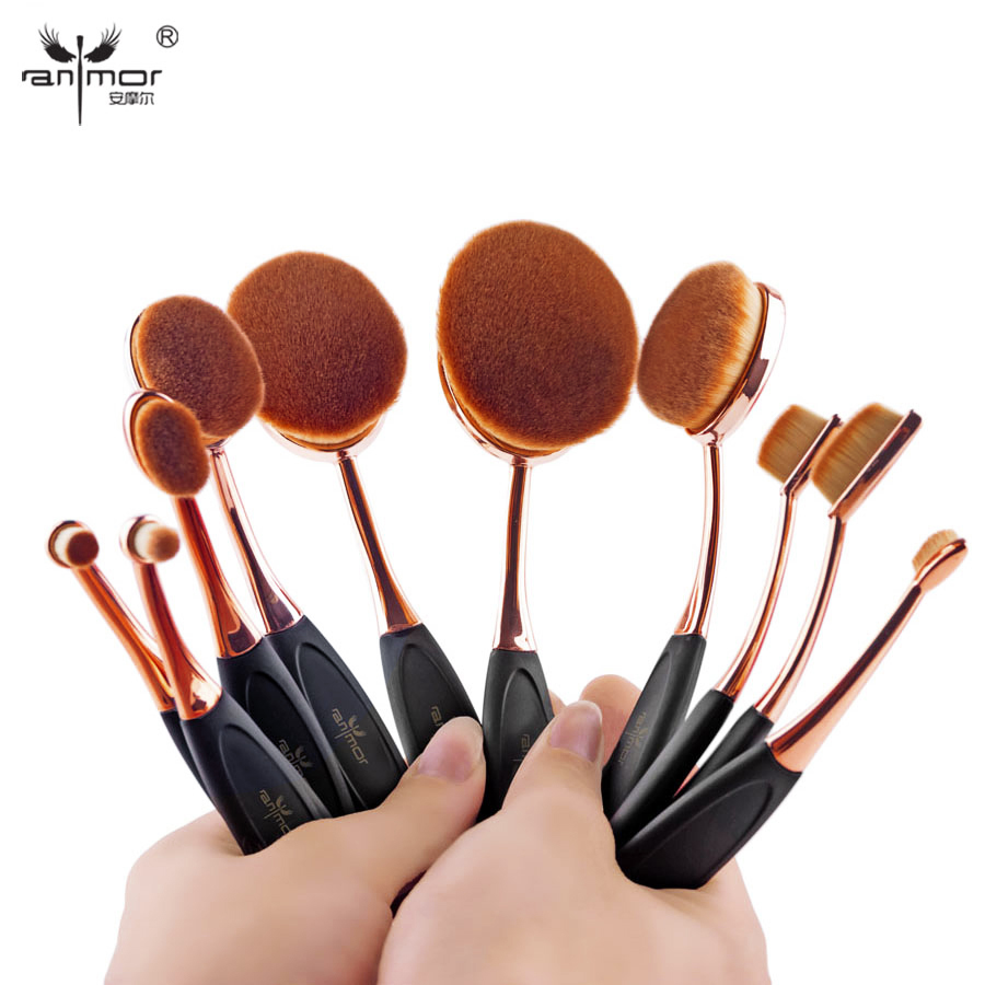 MULTIPURPOSE 10pcs/set Tooth Brush Shape Oval Makeup Brush Set Professional Foundation Powder Brush Kits a suit of chic faux pearl rhinestone leaf necklace and earrings for women