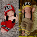 New Character Unisex 2 colors Cotton Newborn Photography Props Costume Hand Crochet Knit Infant Fireman Baby Hat with pants set