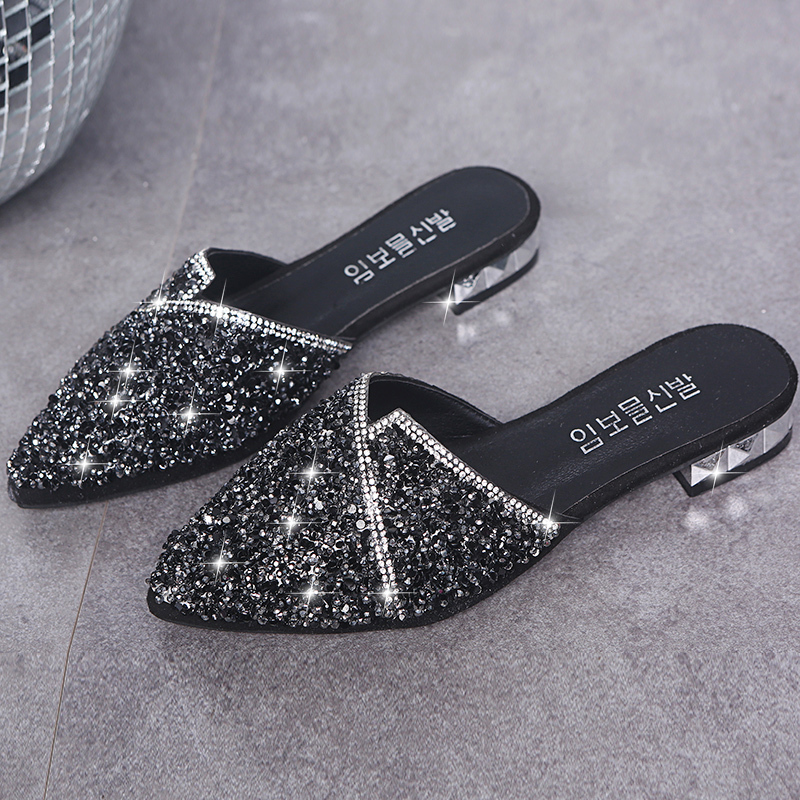 Fashion Crystal Bling Mules Slippers Women Shoes Female Mules Shoes Square Low Heels Elegant Shoes Woman Slipper Casual Shoes