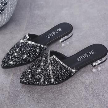 Pantuflas de adorno de cristal a la moda, zapatillas de mujer, zapatos femeninos, zapatos cuadrados de tacón bajo, zapatos elegantes para mujer, zapatillas informales