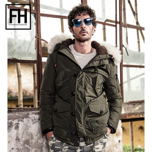 FuHao 2017 Fashion Winter Warm Duck Feather Down Jacket Mens Thick Parka With Fur Hooded Male with Big Pockets,1778C