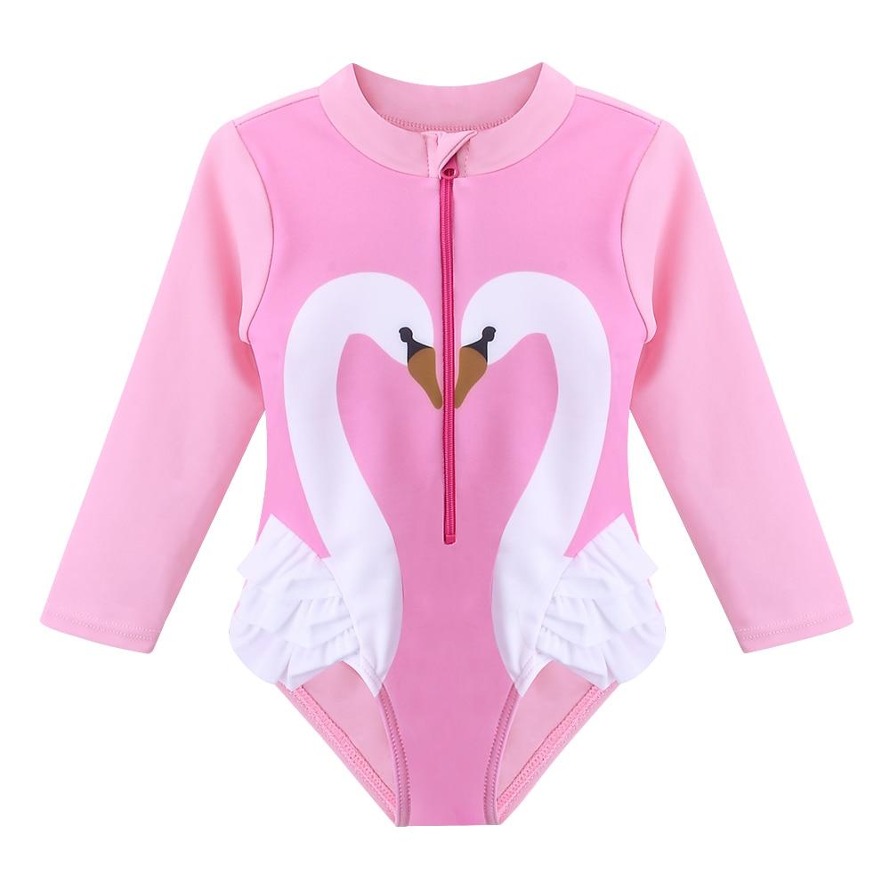 de1473585a BAOHULU Cute Toddler Girls Swimwear UV50+ Baby Girl Bathing Suit Swan Pattern  Swimsuit One Piece Children Bodysuit Pink Black