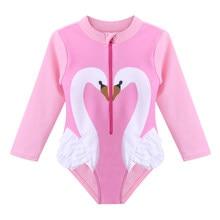 a67770edc4f BAOHULU Cute Toddler Girls Swimwear UV50+ Baby Girl Bathing Suit Swan  Pattern Swimsuit One Piece Children Bodysuit Pink Black